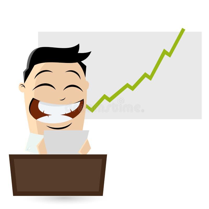 Смешной бизнесмен читает хорошие новости иллюстрация штока