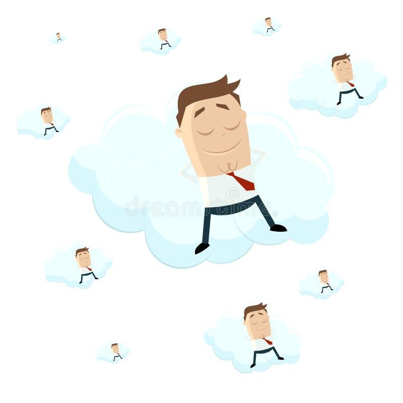 Смешной бизнесмен шаржа лежит на облаке иллюстрация вектора