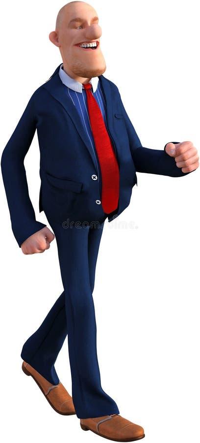 Смешной бизнесмен шаржа идя, изолированный, дело, продажи, маркетинг стоковая фотография