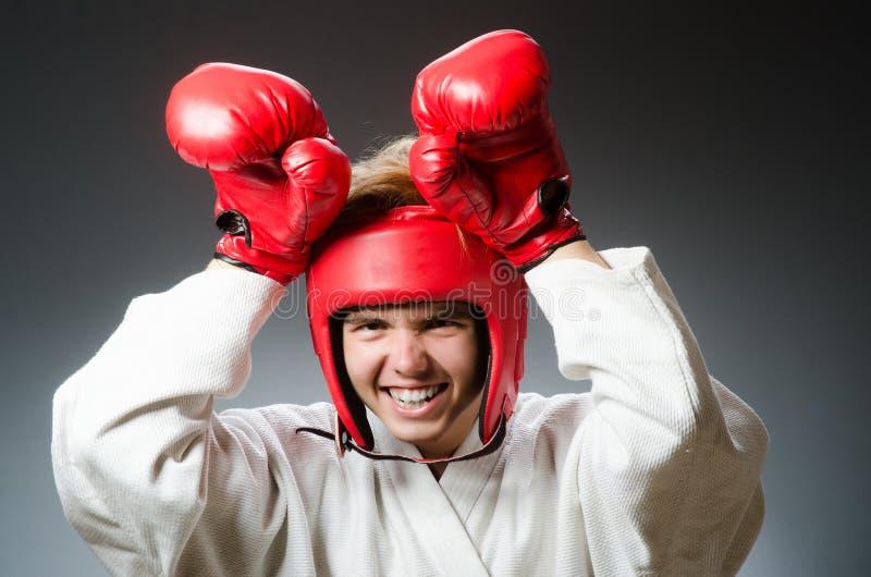 Смешной боксер против стоковые изображения