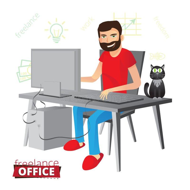 Смешной бородатый фрилансер работая дома на компьютере в красном цвете иллюстрация вектора