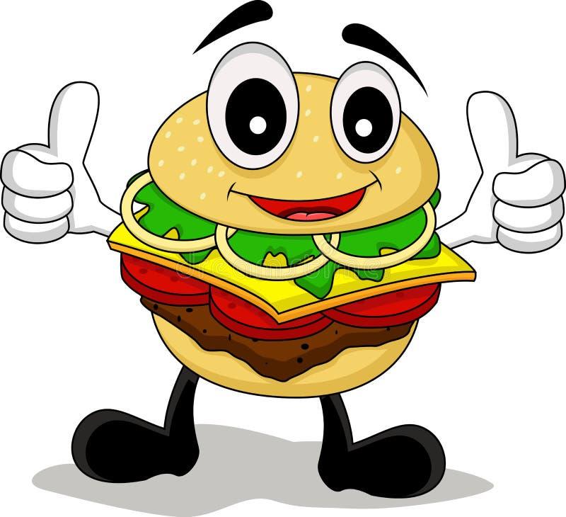 Смешной бургер шаржа иллюстрация штока