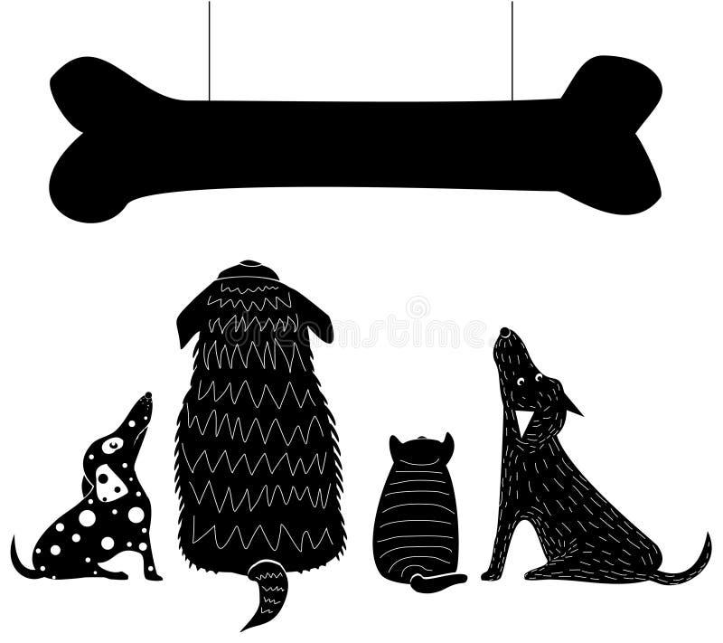 Смешной взгляд собак на косточке иллюстрация штока