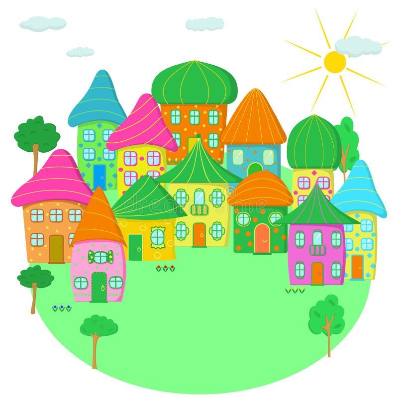 Смешной городок дома мультфильма Смешной городок дома мультфильма Дома покрашенные потехой в квартире иллюстрация штока