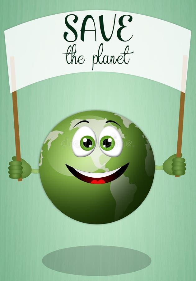 Смешной глауконит для спасения планета бесплатная иллюстрация
