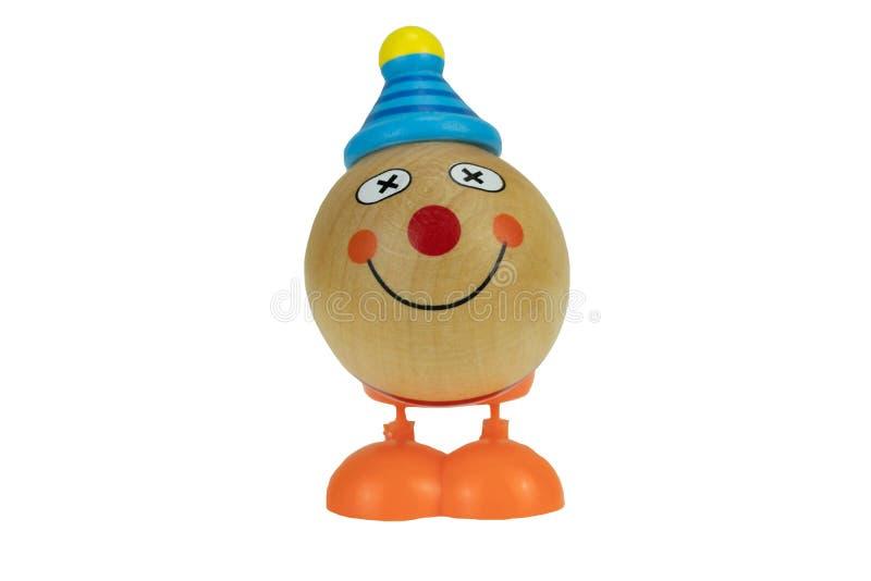 Смешной деревянный клоун игрушки изолированный на белой предпосылке стоковая фотография rf