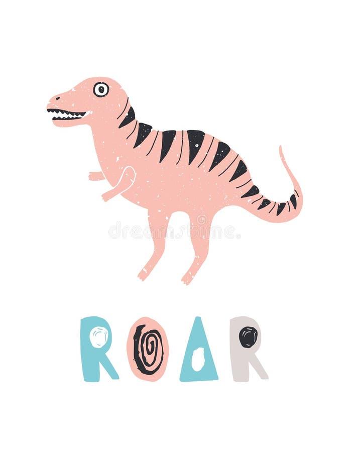 Смешной динозавр или T-Rex и литерность РЫКА изолированная на белой предпосылке Милое потухшее животное или гигантский гад цветас иллюстрация штока