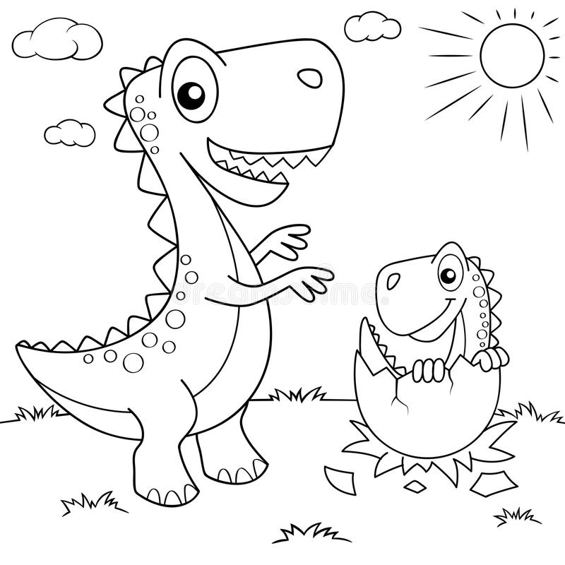 Смешной динозавр шаржа и его гнездо с маленьким dino Черно-белая иллюстрация вектора для книжка-раскраски иллюстрация штока