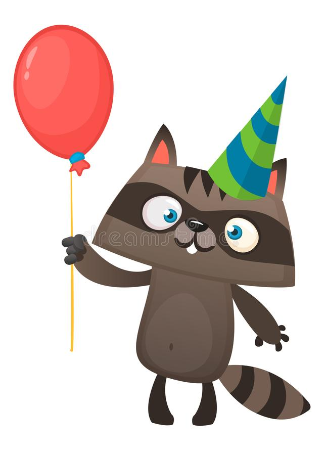Смешной енот шаржа держа шляпу вечеринки по случаю дня рождения красного воздушного шара нося Иллюстрация вектора для открытки дн иллюстрация вектора