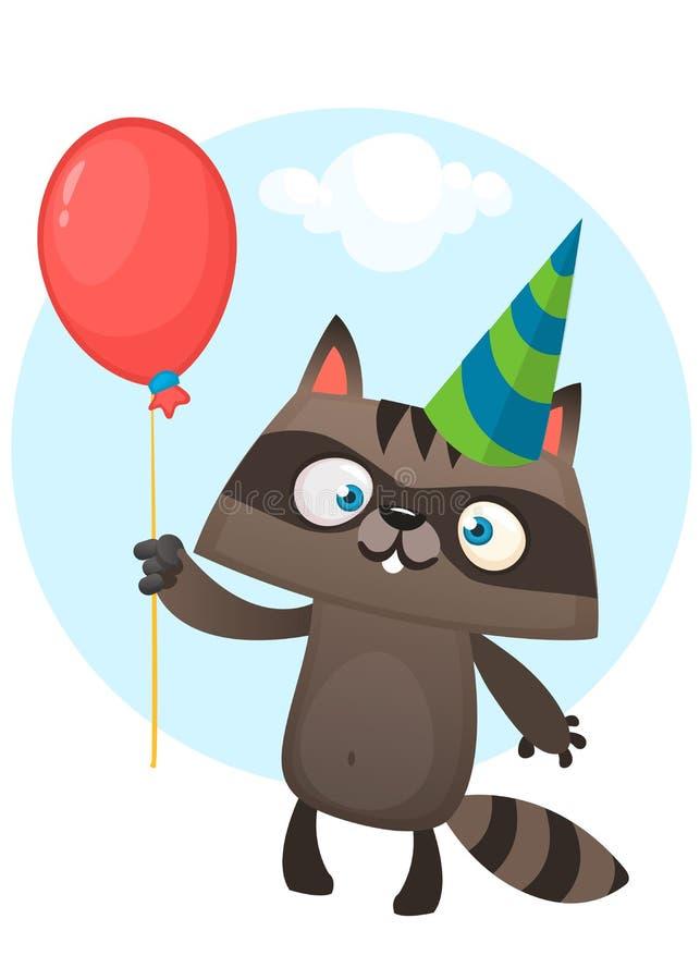 Смешной енот шаржа держа шляпу вечеринки по случаю дня рождения красного воздушного шара нося Иллюстрация вектора для открытки дн иллюстрация штока