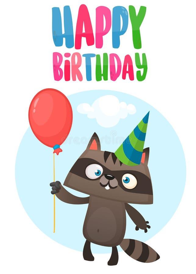 Смешной енот шаржа держа шляпу вечеринки по случаю дня рождения красного воздушного шара нося Иллюстрация вектора для открытки дн бесплатная иллюстрация