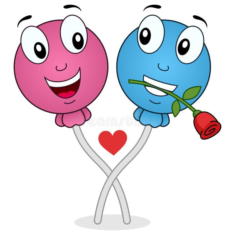Смешной леденец на палочке в персонажах из мультфильма влюбленности иллюстрация вектора