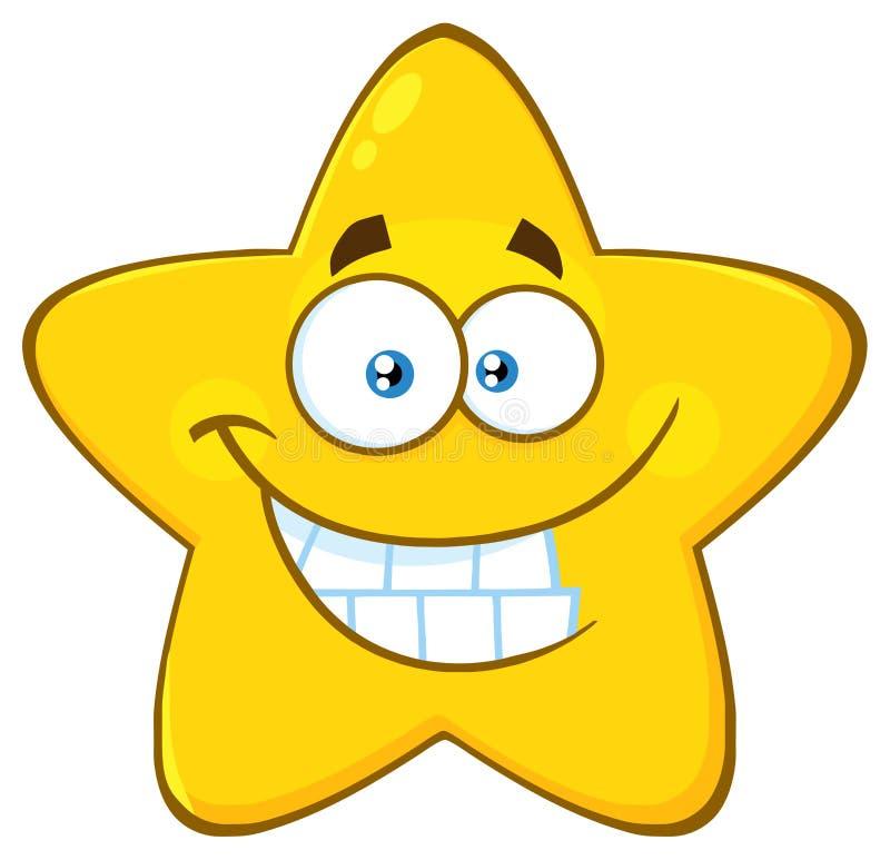 Смешной желтый шарж Emoji звезды смотрит на характер с усмехаясь выражением бесплатная иллюстрация