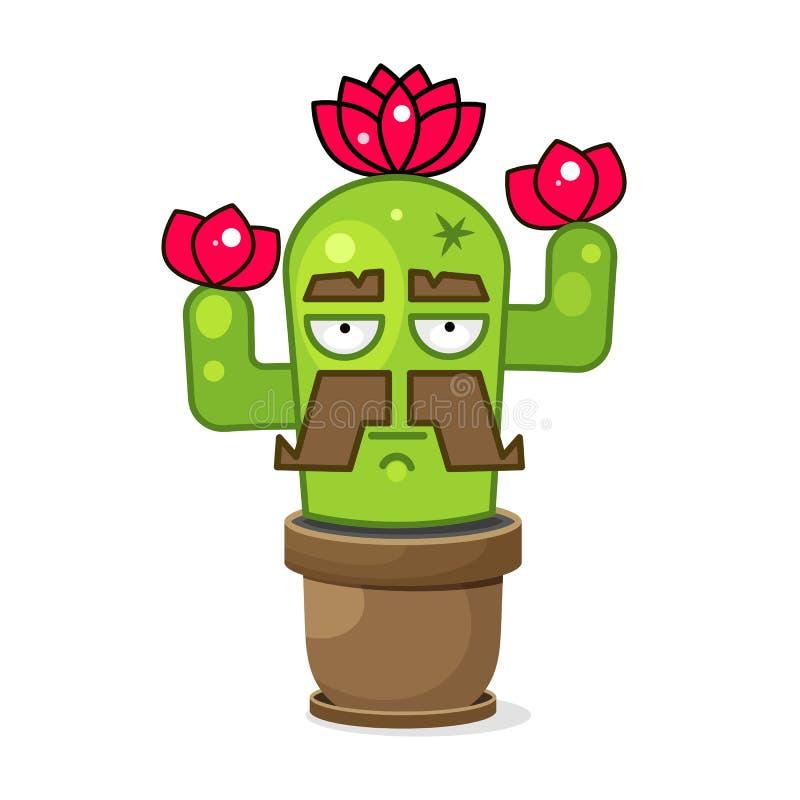Смешной зеленый мексиканский кактус r r бесплатная иллюстрация