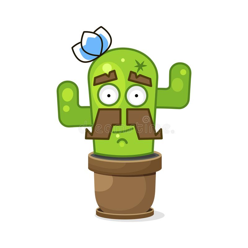 Смешной зеленый мексиканский кактус r r иллюстрация штока
