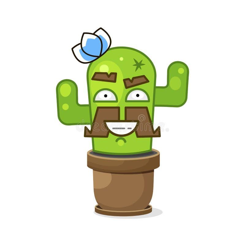 Смешной зеленый мексиканский кактус r r иллюстрация вектора