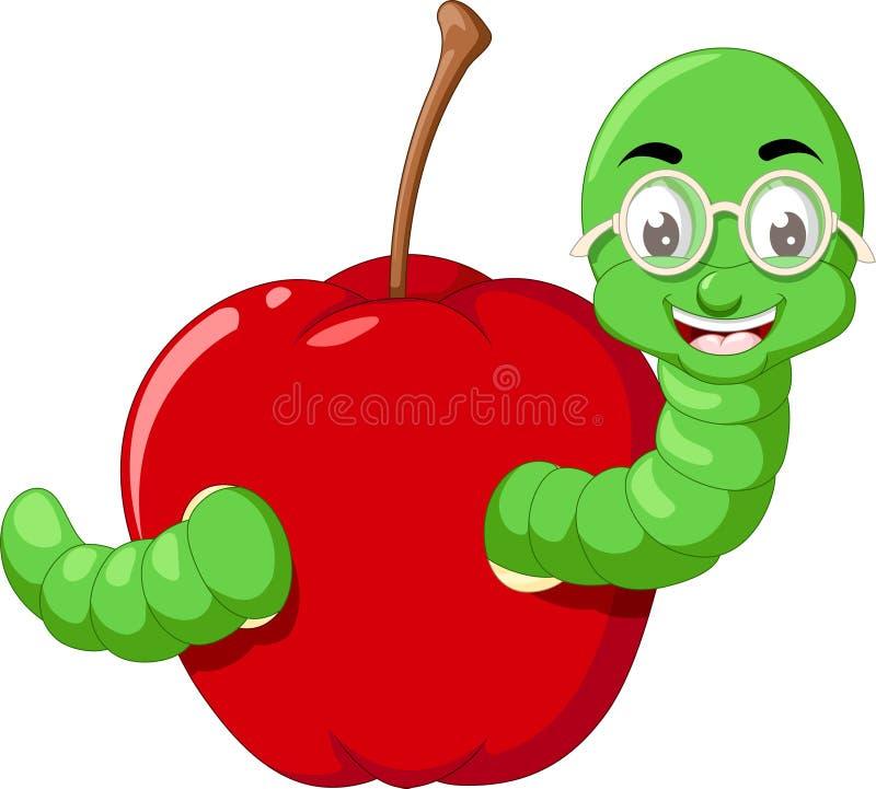 Смешной зеленый червь в красном мультфильме Яблока бесплатная иллюстрация