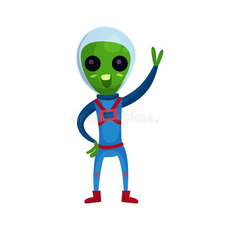 Смешной зеленый чужеземец с большими глазами нося голубой космический костюм развевая его рука, вектор мультфильма характера чуже иллюстрация штока
