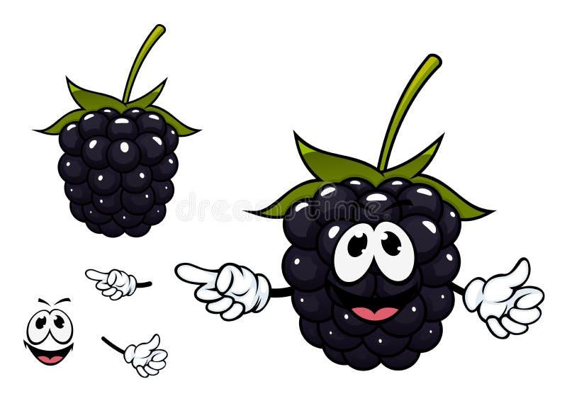 Смешной зрелый характер плодоовощ ежевики иллюстрация вектора