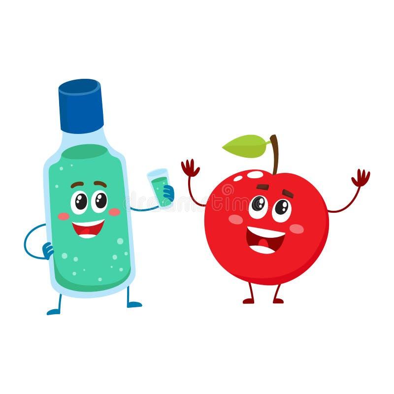 Смешной зубоврачебный mouthwash, rinse рта и характер яблока, зубы заботят иллюстрация штока