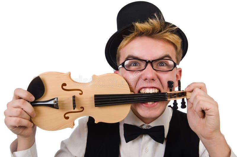 Смешной игрок скрипки изолированный на белизне стоковые фотографии rf