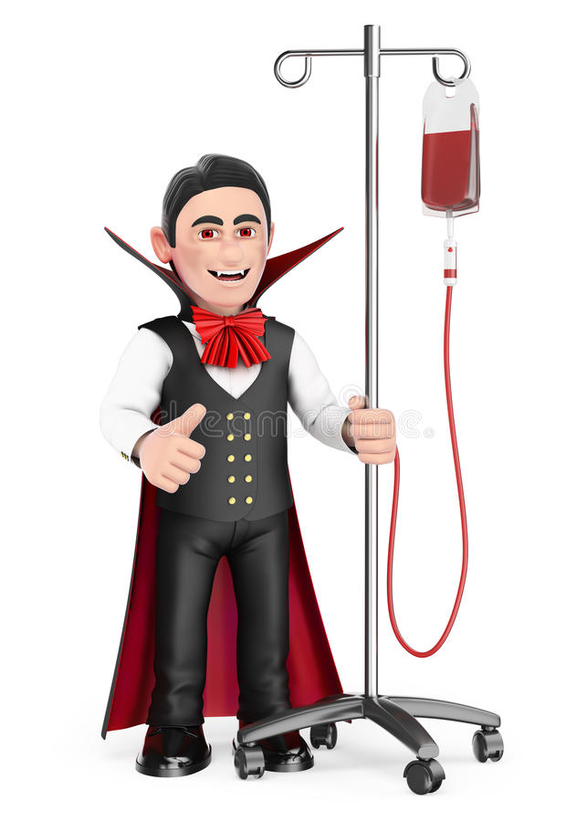 смешной изверг 3D Вампир в больнице с сывороткой halloween бесплатная иллюстрация