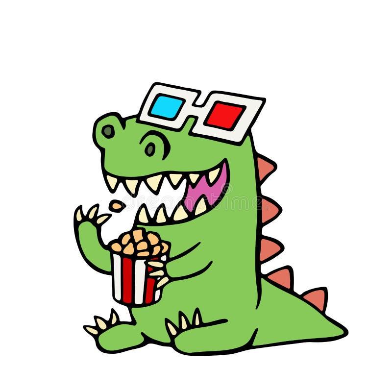 Смешной динозавр в стеклах 3d и коробке попкорна также вектор иллюстрации притяжки corel иллюстрация вектора