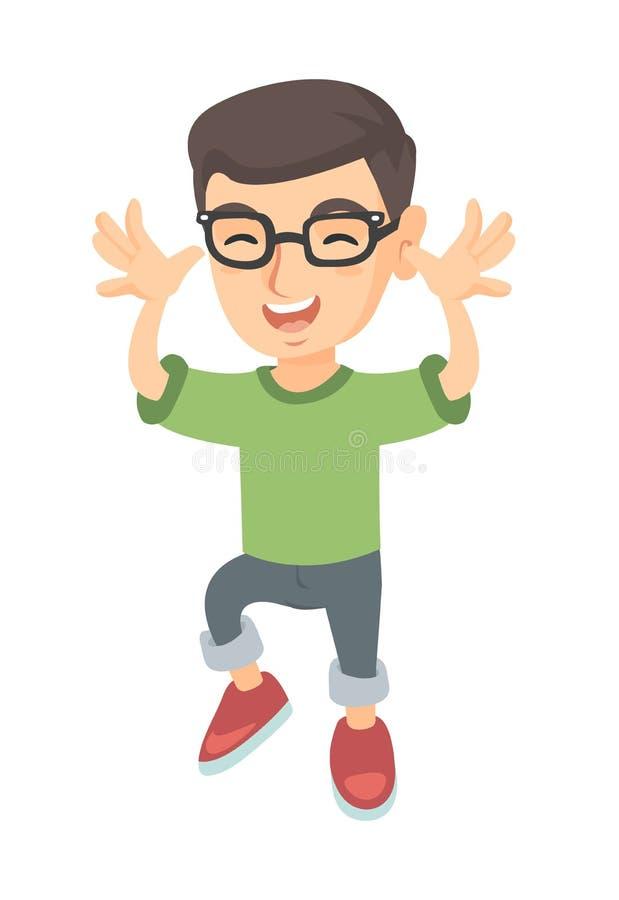 Смешной кавказский мальчик в стеклах дразня с руками бесплатная иллюстрация