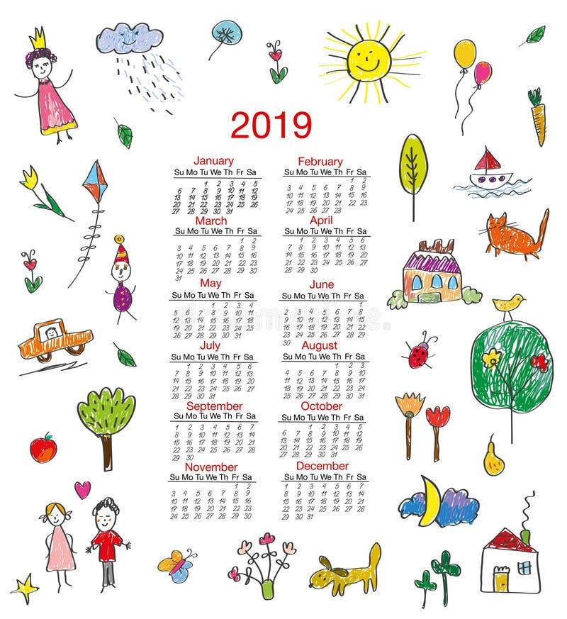 Смешной календарь 2019 с чертежами детей для детей также вектор иллюстрации притяжки corel иллюстрация вектора