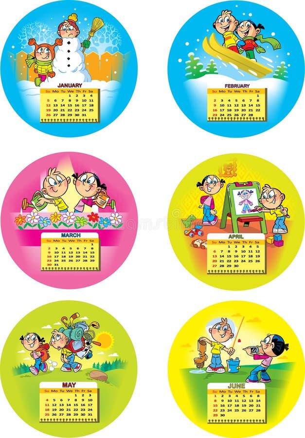 Смешной календарь детей иллюстрация штока