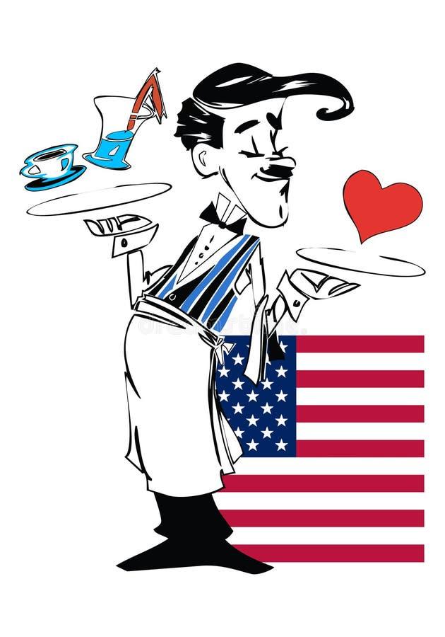 Смешной кельнер, Соединенные Штаты Америки бесплатная иллюстрация