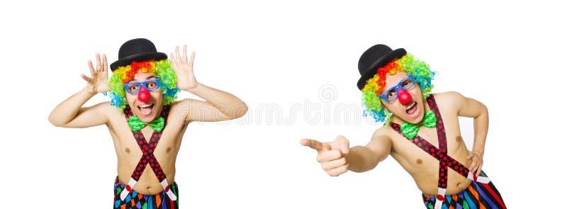 Смешной клоун изолированный на белой предпосылке стоковое изображение