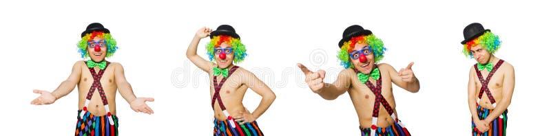 Смешной клоун изолированный на белой предпосылке стоковая фотография rf