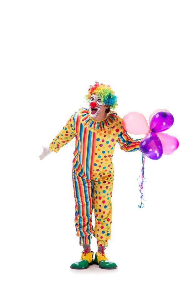 Смешной клоун изолированный на белой предпосылке стоковые фотографии rf