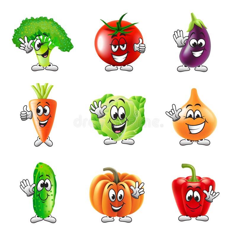 Смешной комплект вектора значков овощей шаржа иллюстрация штока