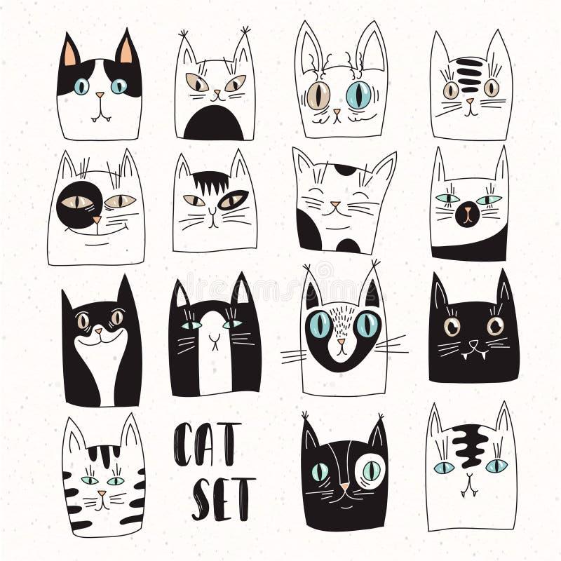 Смешной комплект котов вектора иллюстрация штока