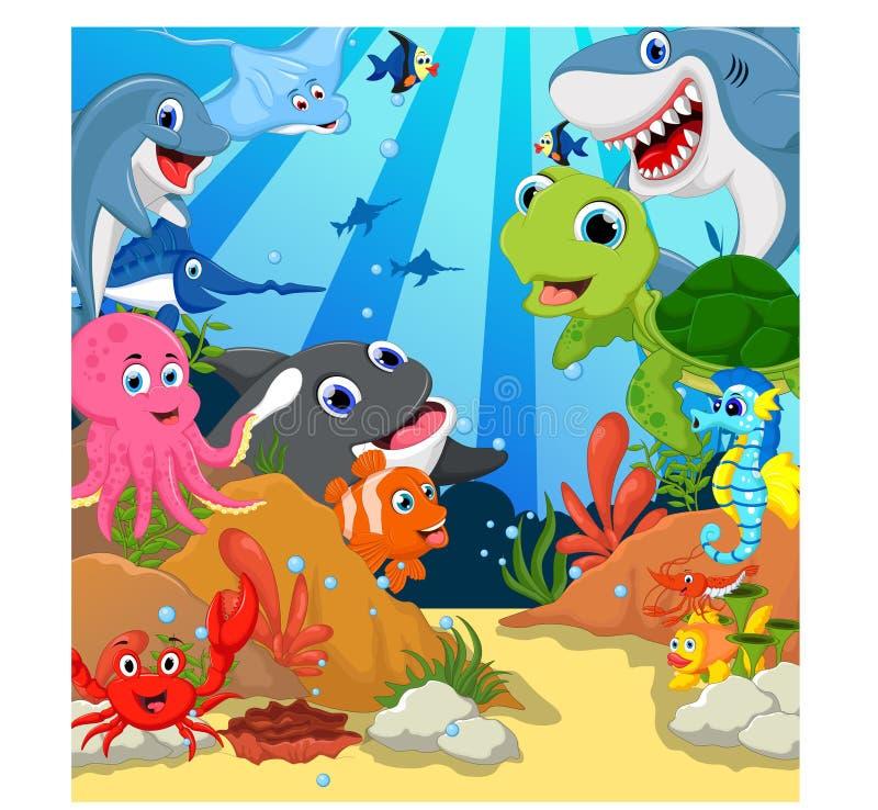 Смешной комплект шаржа морских животных иллюстрация штока