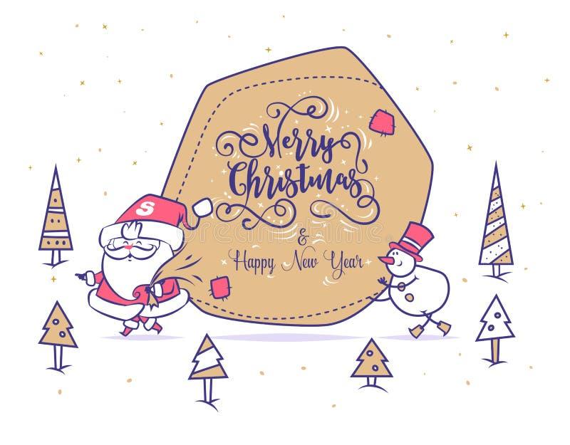 Смешной комплект santa Плакат предпосылки поздравительной открытки рождества также вектор иллюстрации притяжки corel иллюстрация вектора