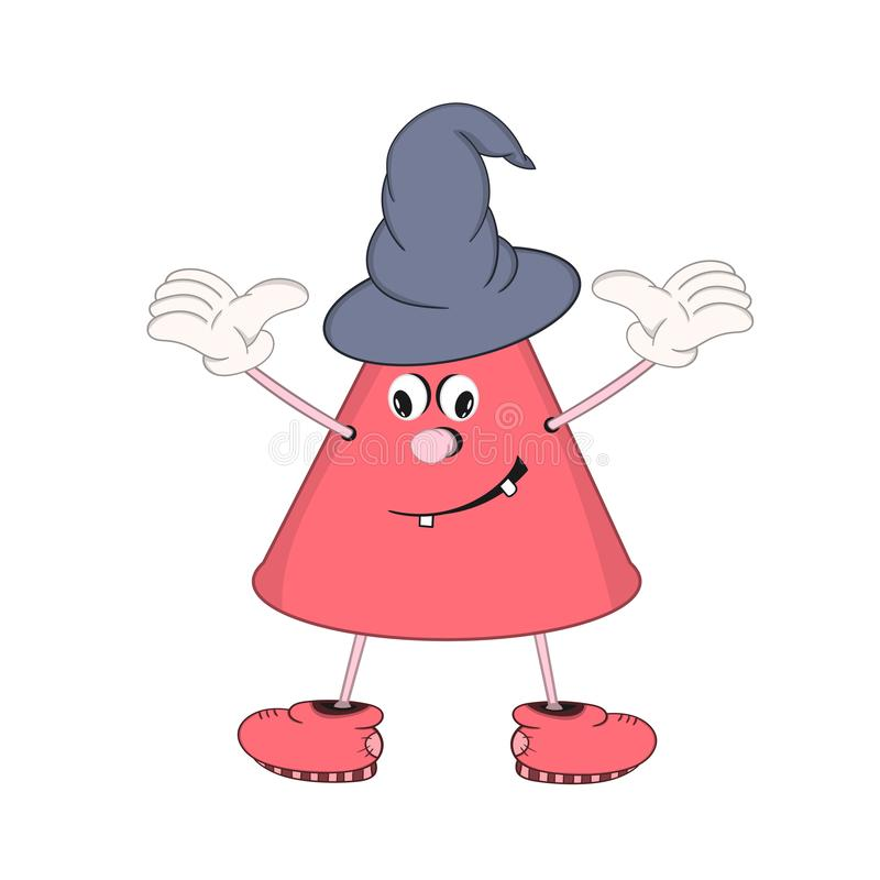 Смешной конус мультфильма с глазами, руками и ногами, демонстрирует эмоцию улыбки На голове крышка волшебника иллюстрация штока