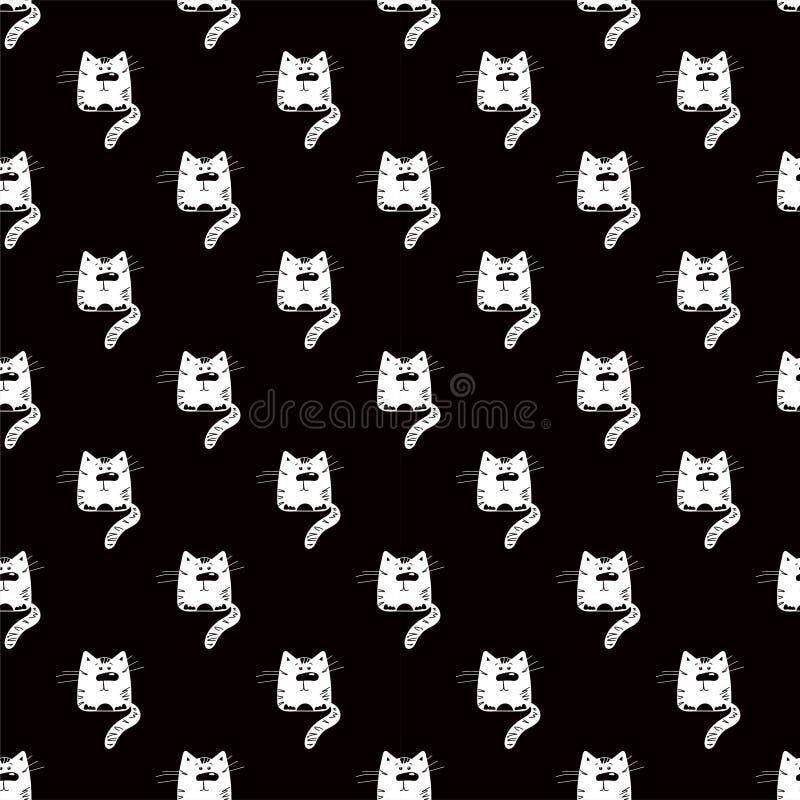 Смешной кот Безшовная черно-белая картина Силуэт животного мультфильма Дизайн ткани с котенком любимца бесплатная иллюстрация