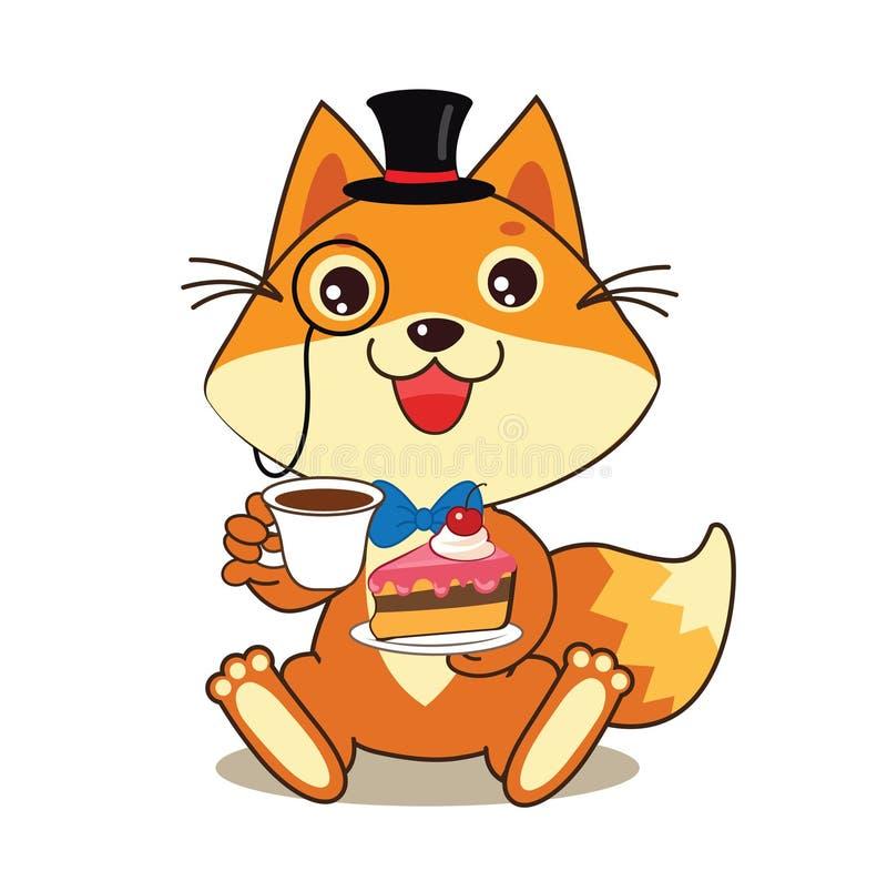 Смешной кот в котелке и Monocle, и торт в его руках Иллюстрация животных шаржа вектора иллюстрация штока