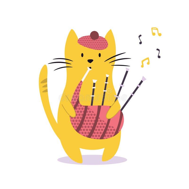 Смешной кот играя волынку также вектор иллюстрации притяжки corel иллюстрация штока