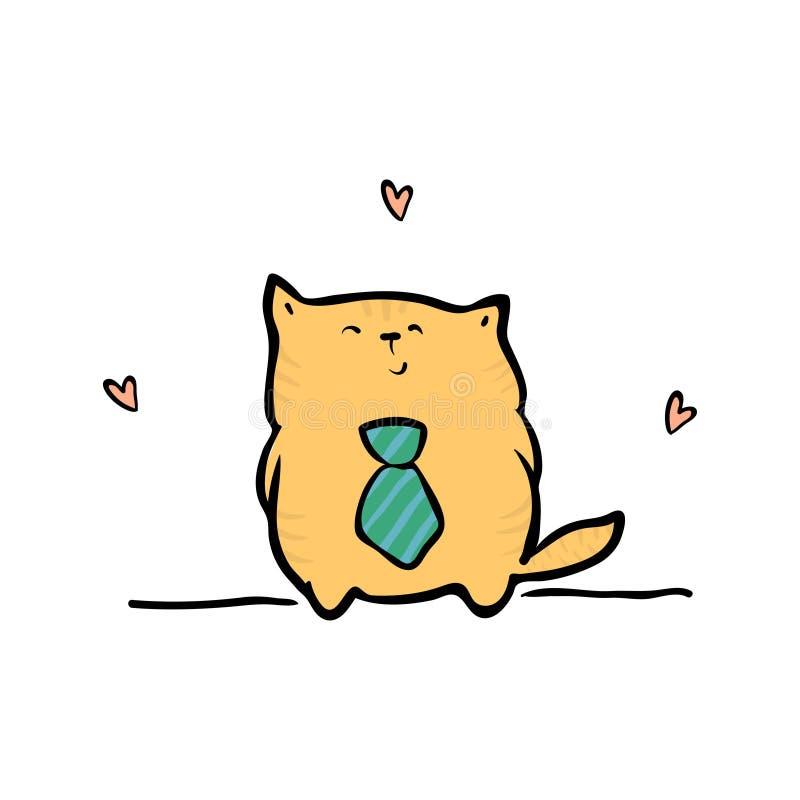 Смешной кот отца Счастливая поздравительная открытка дня отцов иллюстрация вектора
