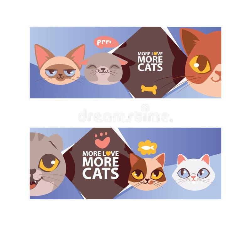 Смешной кот смотрит на ilustration вектора знамени Портреты котенка мультфильма милые Животные головы Больше полюбите больше кото иллюстрация вектора