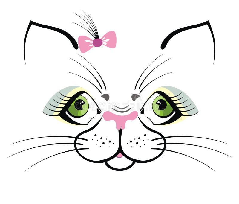 Смешной кот с зелеными глазами иллюстрация штока
