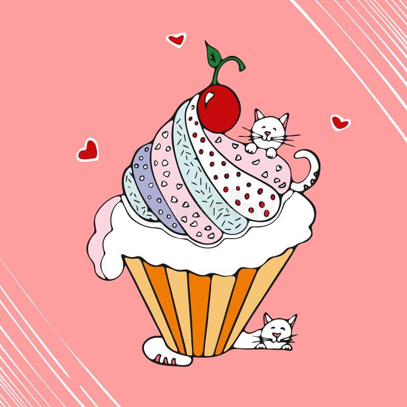 Смешной кот с иллюстрацией вектора пирожного нарисованной рукой бесплатная иллюстрация