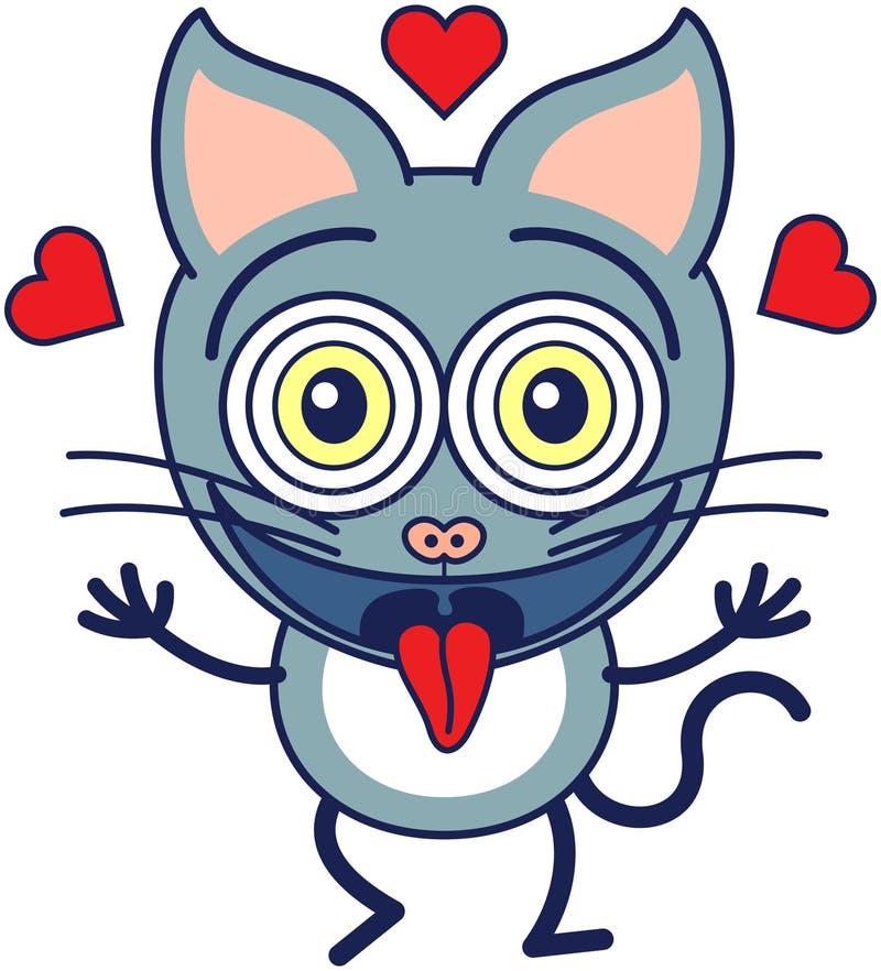 Смешной кот чувствуя сумашедше в влюбленности бесплатная иллюстрация