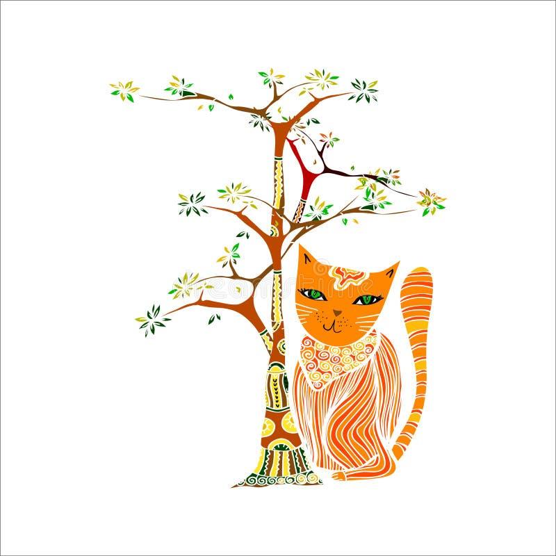Смешной красный кот и дерево Иллюстрация в этническом стиле бесплатная иллюстрация