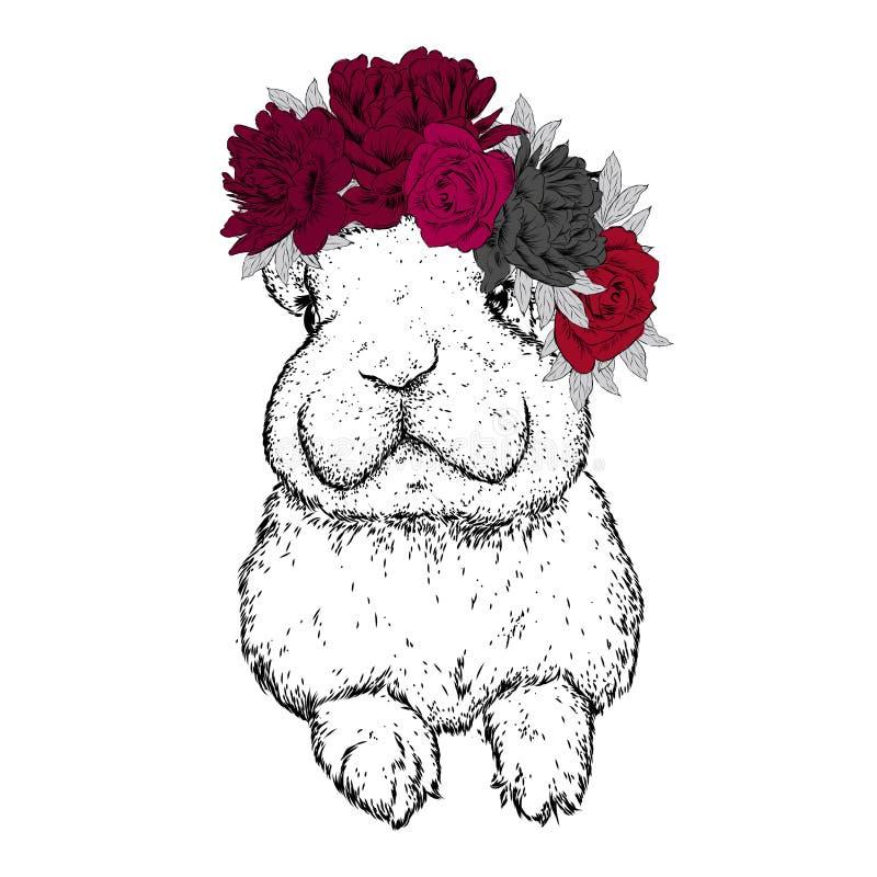 Смешной кролик в венке цветка также вектор иллюстрации притяжки corel Пионы и розы иллюстрация штока