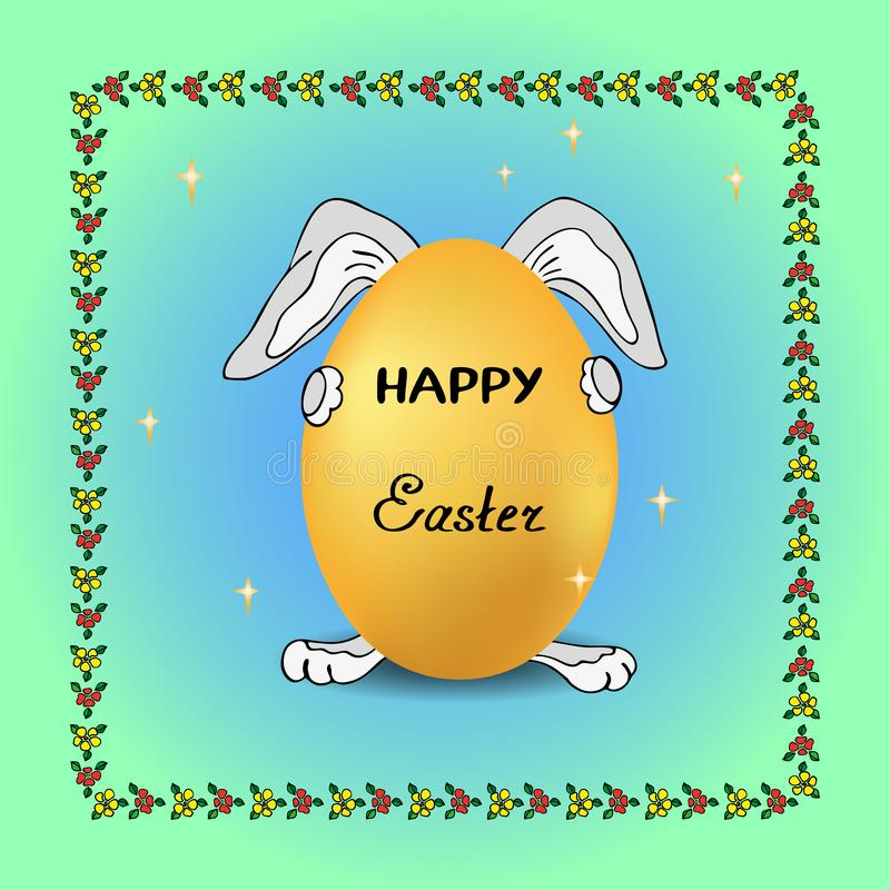 Смешной кролик на предпосылке звезд держит праздничное яйцо на праздн иллюстрация вектора